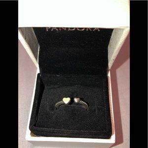 Hearts Of Love Ring, Silver Enamel Pandora Ring